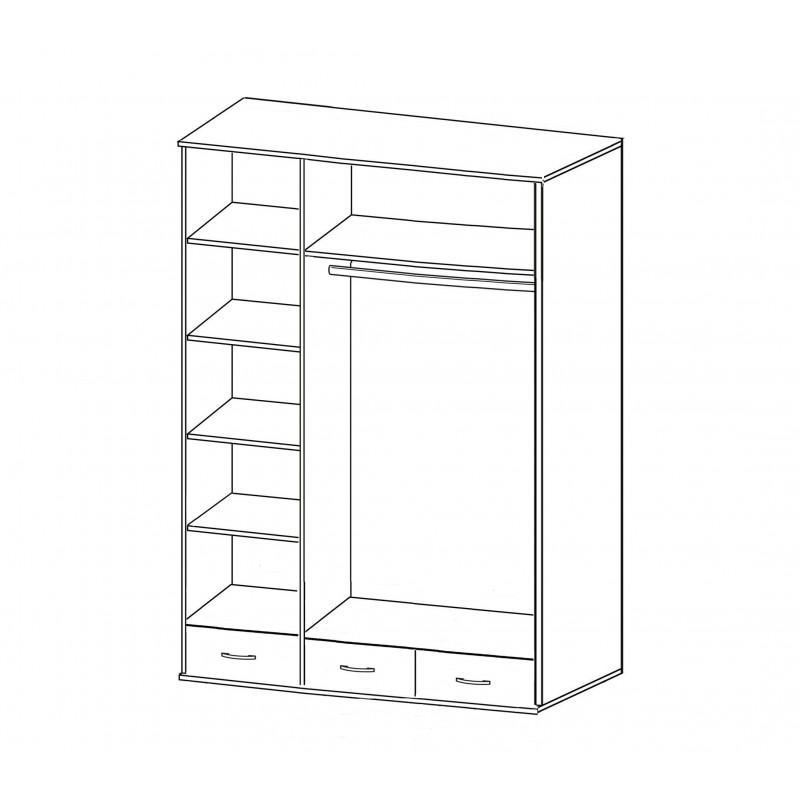 Шкаф для одежды и белья трехстворчатый Купидон (фото 3)