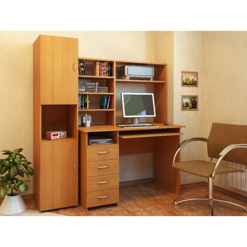 Компьютерный стол Милан-3 с надставкой и колонкой