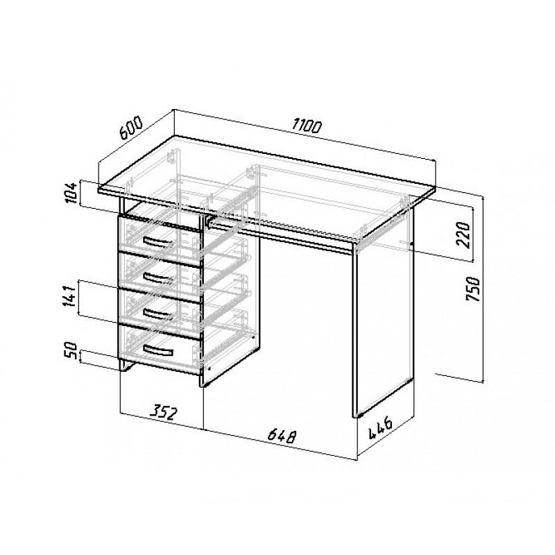 Компьютерный стол Милан-3 с надставкой и колонкой (фото 3)
