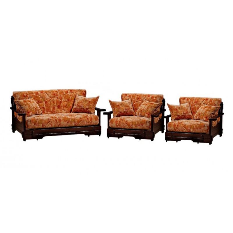 Комплект мягкой мебели Япет с деревянными подлокотниками