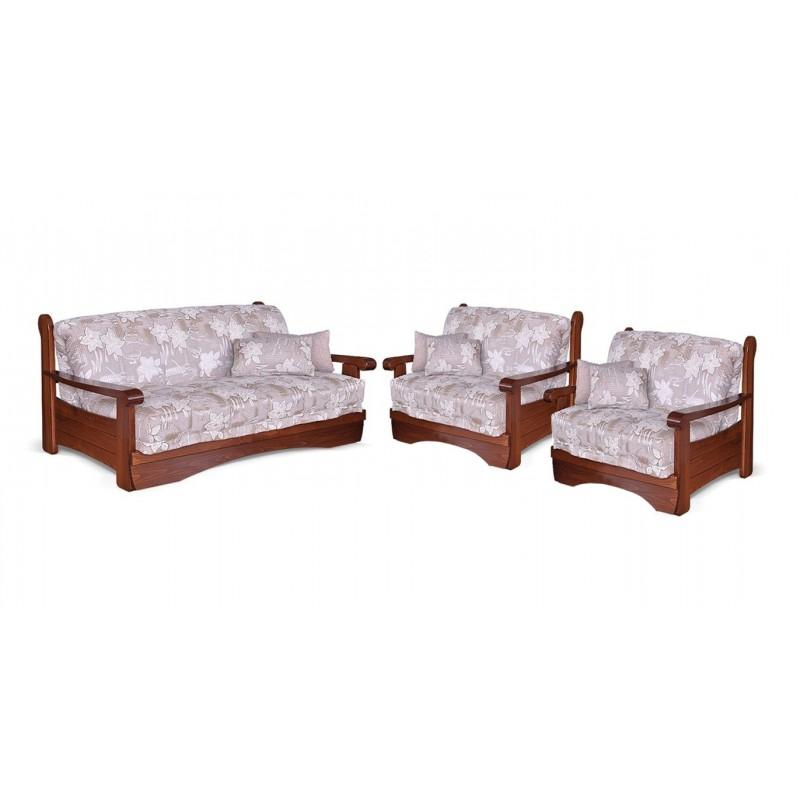 Комплект мягкой мебели Рея с деревянными подлокотниками